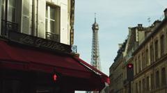 WS TD Young women crossing street near Eiffel Tower / Paris, France Stock Footage