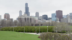 Chicago Skyline With Moving Cars - stock footage