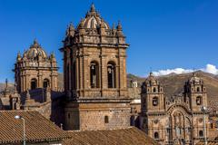 Stock Photo of cathedral and society of jesus church bell towers cuzco peru