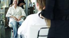 MS TU Woman having hair cut in hair salon / Lehi, Utah, USA Stock Footage