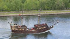 Passenger ship stylized on XVI century galleon. - stock footage