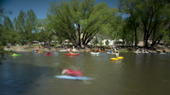 T/L WS People kayaking in resort / Buena Vista, Colorado, USA Stock Footage