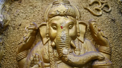 Lord Ganesha Gold Statue Stock Footage