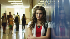 MS DS Portrait of female student (14-17) in school corridor / Spanish Fork City, Stock Footage
