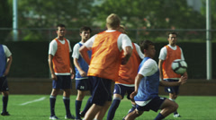MS PAN Men playing soccer on field / Provo, Utah, USA - stock footage