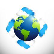 Globe around clouds. illustration design Stock Illustration