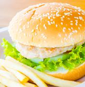 hamburger and french fries , fast food - stock photo