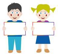Happy children with blank banner Stock Illustration