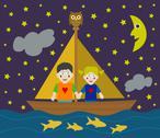 Stock Illustration of Kids sailing adventure