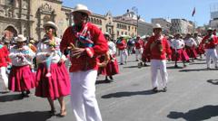 La Paz fiesta dancers by church Stock Footage