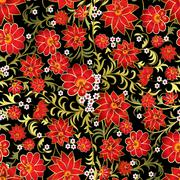 Stock Illustration of abstract seamless floral ornament on black background