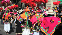 La Paz fiesta costumes in hot pink Stock Footage