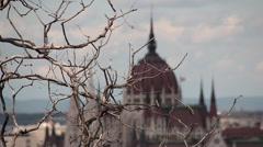 PARLIAMENT OUTSIDE MEDIUMSHOT CHANGE FOCUS SLOW, Budapest Stock Footage