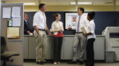 WS ZI Manager disciplining four workers chatting in office/ Orem, Utah, USA Stock Footage