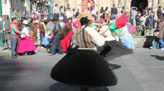 La Paz fiesta dancers twirl c Stock Footage
