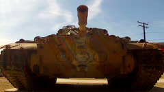 Desert Camo Army Tank Close Up Front View Low Angle- Barstow CA - stock footage