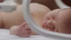 CU PAN Newborn baby (0-1 months) sleeping in NICU / Payson, Utah, USA Stock Footage