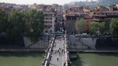 St Angelo Bridge in Rome - Ponte Sant'Angelo Stock Footage