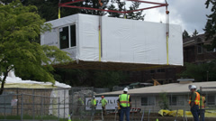 Modular building being constructed 1 Stock Footage