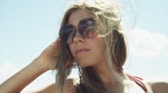 CU Portrait of young woman near Lake Powell / Utah, USA - stock footage