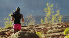 WS PAN Rear view of young woman jogging in desert landscape / Lake Powell, Utah, Stock Footage