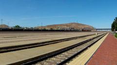 Rail Yard Railroad Tracks- Barstow California Stock Footage