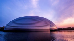 The sunset of National Grand Theatre in Beijing - stock footage
