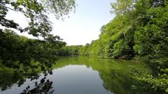 Park lake vista, extra wide shot Stock Footage