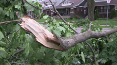 Epic storm damage, house crushed in thunder storm microburst / downburst winds - stock footage