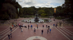 T/L WS HA People on Bethesda Terrace with Bethesda Fountain in Central Park / - stock footage