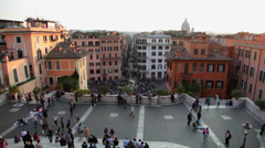 Spanhish steps, Piazza di Spagna, Rome Italy Stock Footage