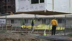 Modular building being set in place Stock Footage
