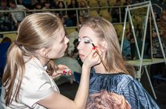 girl contest participant on the contemporary make-up - stock photo