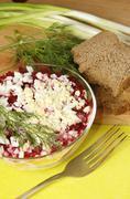 Russian traditional herring salad Stock Photos