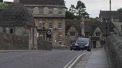 WS Car traffic in town / Bradford on Avon, Wiltshire, UK Stock Footage