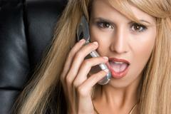 angry phone woman - stock photo