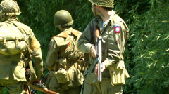 US airborne meet infantry troops Normandy 02 - stock footage