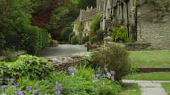 WS TU Village with stone houses / Castle Combe, Cotswolds, Wiltshire, UK - stock footage