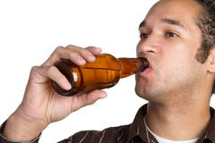 beer bottle man - stock photo