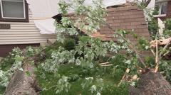 Epic storm damage, house crushed in thunder storm microburst / downburst winds Stock Footage