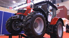 Agriculture exhibition Tractor fair, tractor close up Stock Footage