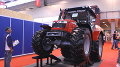 New Tractor Agriculture exhibition  fair, detail Stock Footage
