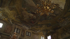 WS LA PAN Ornate ceiling with gilded lamp / Venice,Veneto,Italy Stock Footage