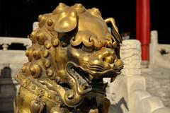 Forbidden City: Chinese Bronze Lion Stock Photos