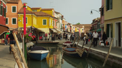 WS Colorful buildings along canal / Murano,Venice,Italy Stock Footage