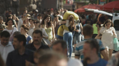 Stock Video Footage of 4K & HD resolutions, Nice adult woman in the crowd stream, daytime
