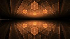 orange cubic geometrical horizon  with rays of light, animation, seamless loop - stock footage