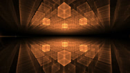 Stock Video Footage of orange cubic geometrical horizon  with rays of light, animation, seamless loop