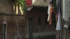 MS TU Laundry drying on washing line above street / Venice,Veneto,Italy Stock Footage
