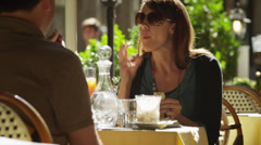 MS Couple eating at outdoor cafe / Florence,Tuscany,Italy Stock Footage